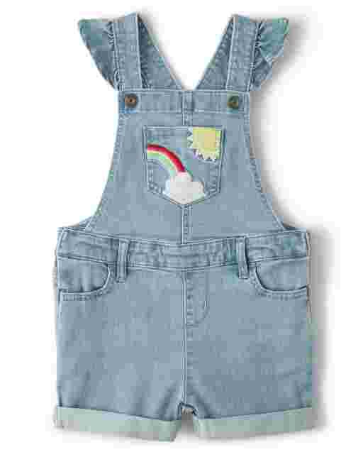Girls Short Ruffle Sleeve Embroidered Rainbow Denim Shortalls - Sunshine Time