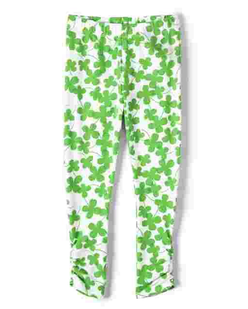 Girls Shamrock Print Knit Leggings - Little Leprechaun
