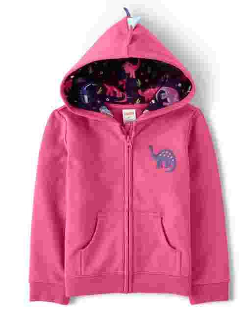 Girls Long Sleeve Embroidered Dino Fleece Zip Up Hoodie - Hello Dino