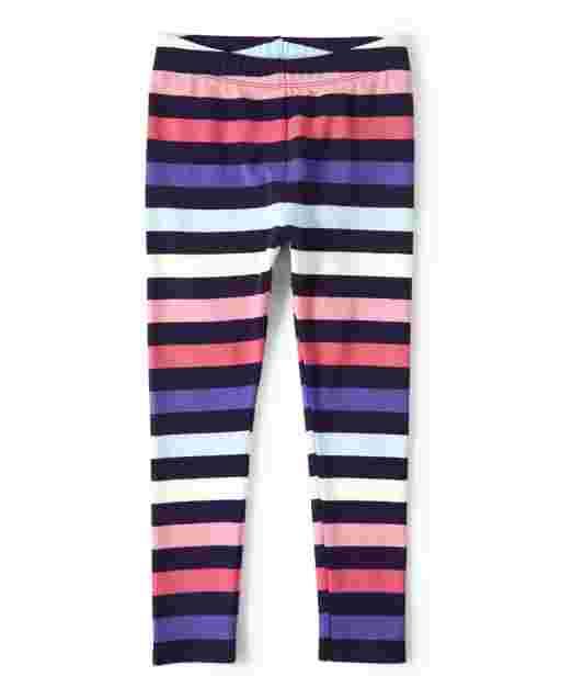 Girls Knit Striped Leggings - Hello Dino