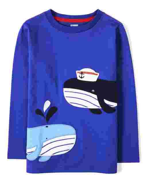 Camiseta de manga larga con bordado de ballena para niño - Todo a bordo