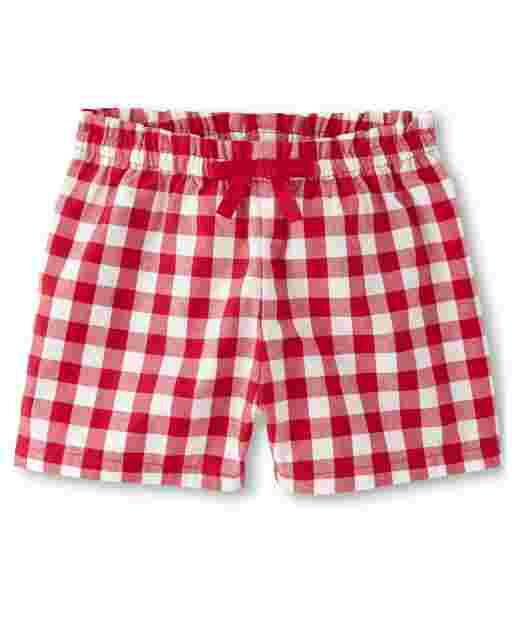 Girls Gingham Poplin Bow Shorts - Sweet Watermelon