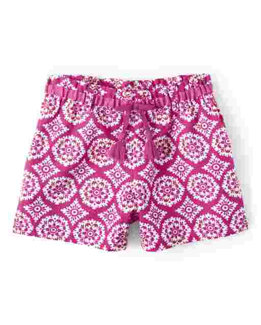 Girls Medallion Print Tassel Belted Poplin Shorts - Summer Sunsets