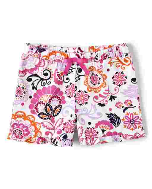 Girls Floral Print Knit Ruffle Shorts - Summer Sunsets