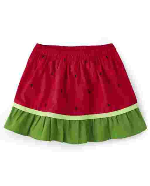 Girls Watermelon Seed Print Poplin Ruffle Skort - Sweet Watermelon