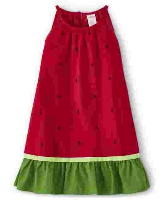 Girls Sleeveless Watermelon Seed Print Poplin Ruffle Dress - Sweet Watermelon