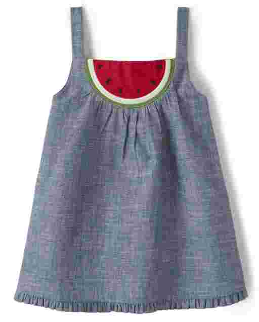 Girls Sleeveless Embroidered Watermelon Patch Chambray Top - Sweet Watermelon
