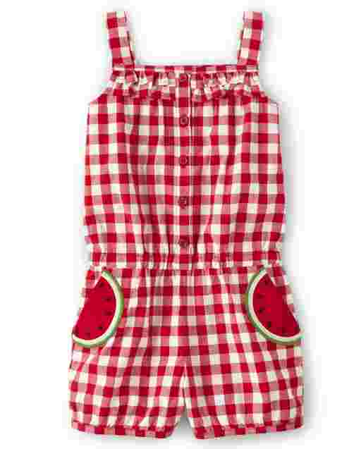 Girls Sleeveless Gingham And Watermelon Patch Poplin Romper - Sweet Watermelon