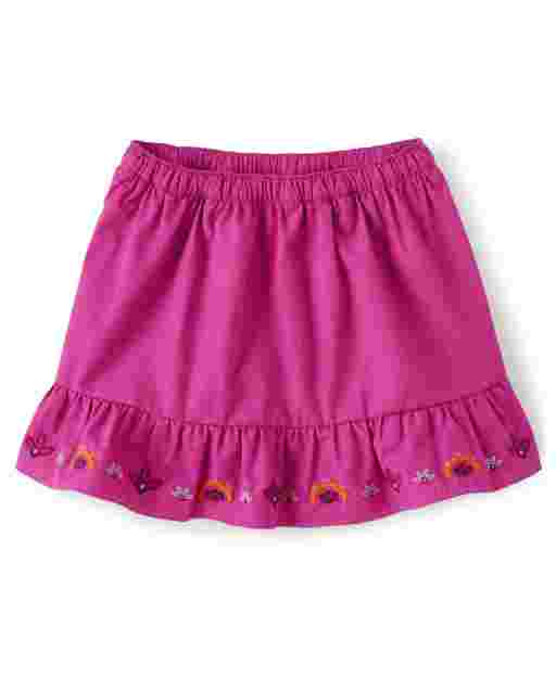 Girls Embroidered Floral Poplin Ruffle Skort - Summer Sunsets