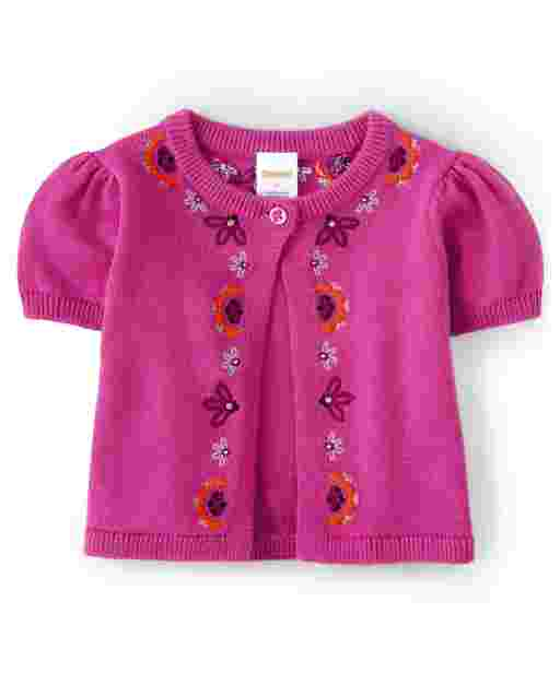 Girls Short Sleeve Embroidered Floral Shrug - Summer Sunsets