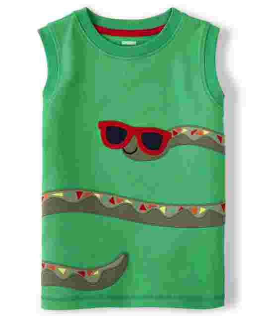 Boys Sleeveless Embroidered Snake Patch Tank Top - Critter Camp