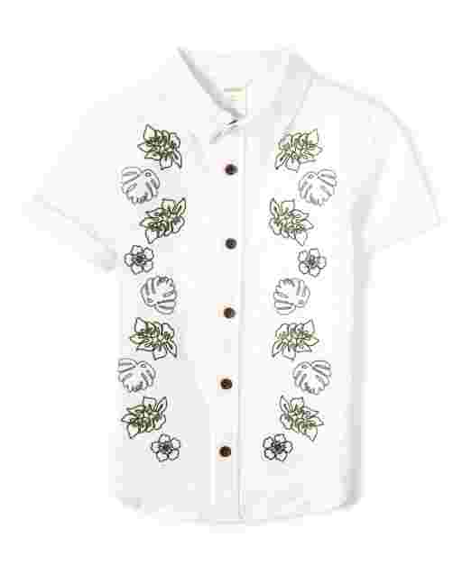 Boys Short Sleeve Leaf Button Up Shirt - Safari Camp