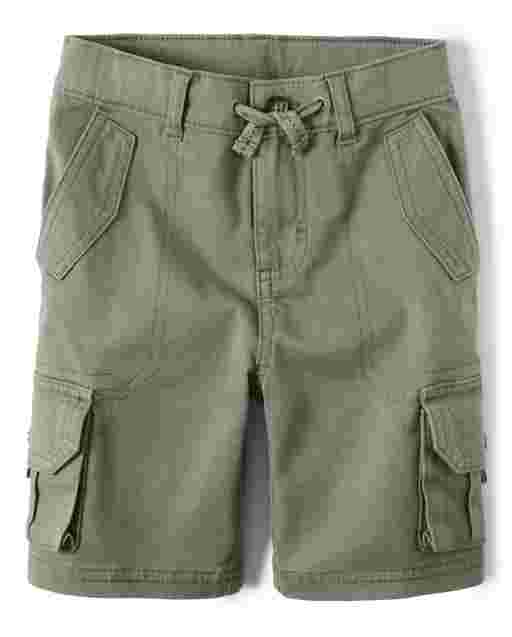 Boys French Terry Knit Cargo Shorts - Safari Camp