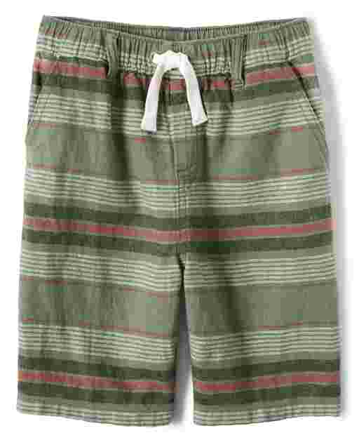 Boys Striped Linen Woven Pull On Shorts - Safari Camp