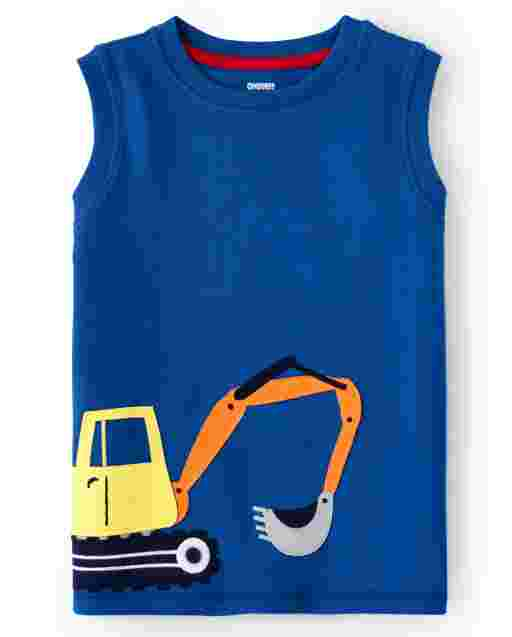 Boys Sleeveless Embroidered Truck Tank Top - Mr. Fix It