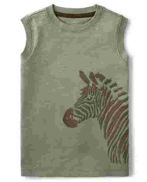 Boys Sleeveless Zebra Tank Top - Safari Camp