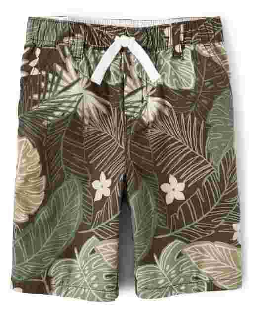 Boys Leaf Print Poplin Pull On Shorts - Safari Camp