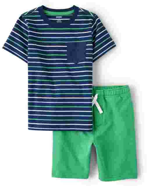 Boys Short Sleeve Striped Pocket Top And French Terry Knit Pull On Shorts Set - Critter Camp
