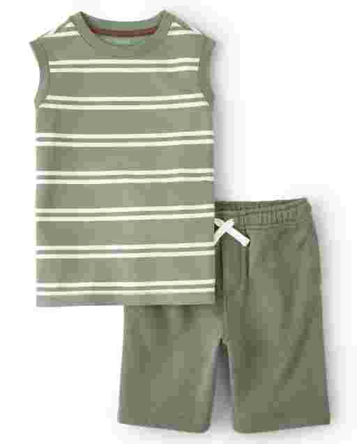 Boys Sleeveless Striped Tank Top And Knit Pull On Shorts Set - Safari Camp