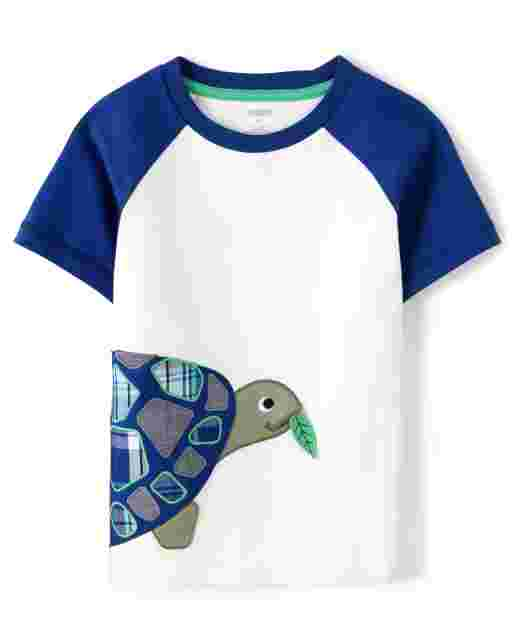 Boys Short Raglan Sleeve Embroidered Turtle Patch Top - Critter Camp