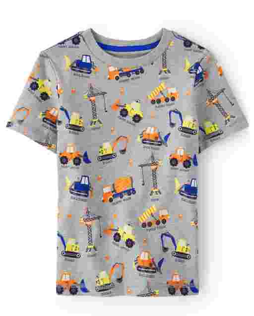 Boys Short Sleeve Construction Print Top - Mr. Fix It