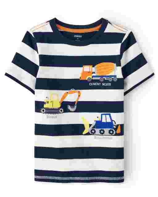 Boys Short Sleeve Embroidered Truck Striped Top - Mr. Fix It