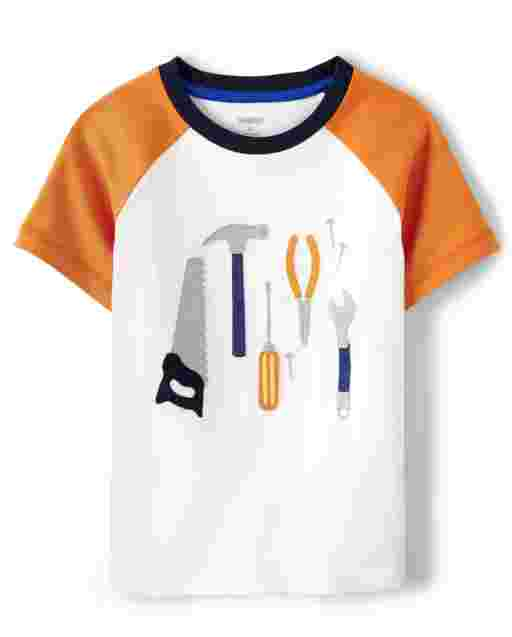 Boys Short Sleeve Embroidered Tools Raglan Top - Mr. Fix It