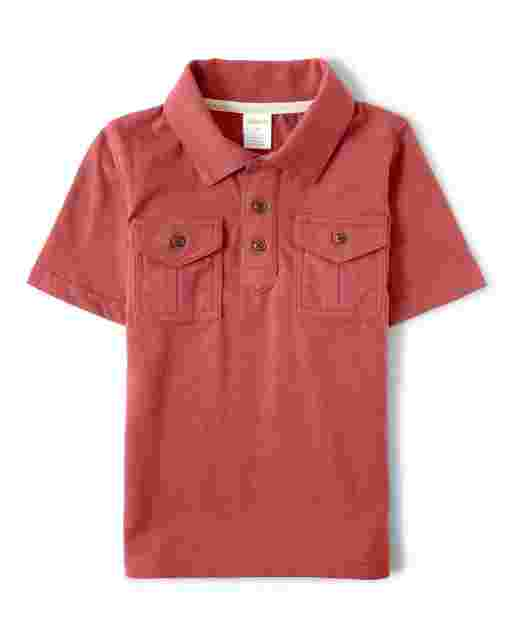 Boys Short Sleeve Striped Pocket Polo - Safari Camp