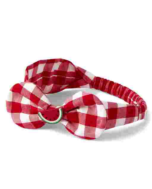 Girls Watermelon Gingham Bow Headwrap - Sweet Watermelon