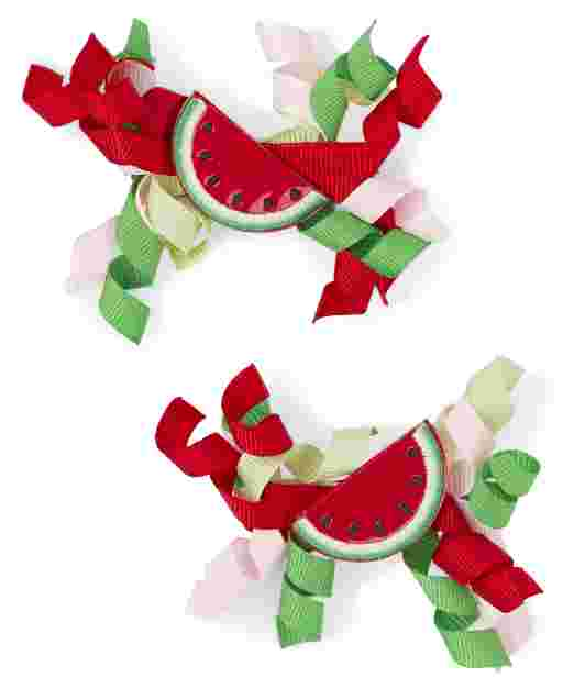 Girls Watermelon Curly Hair Clips 2-Pack - Sweet Watermelon