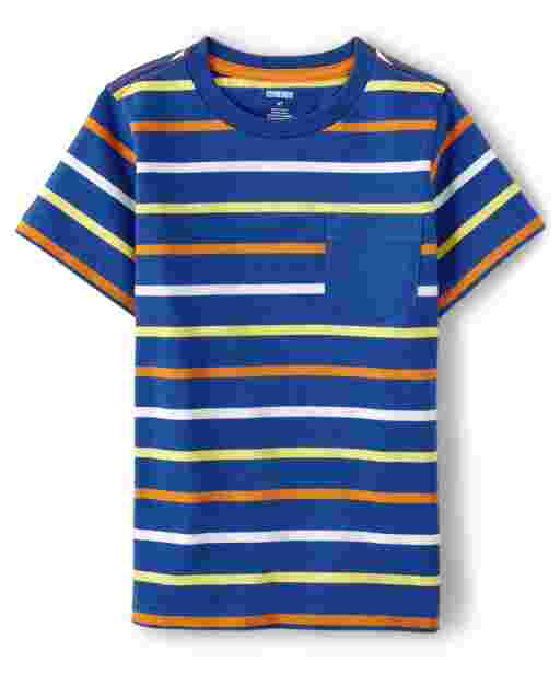 Boys Short Sleeve Striped Pocket Top - Mr. Fix It