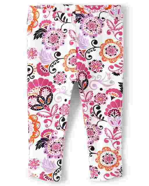 Girls Floral Print Knit Capri Leggings - Summer Sunsets
