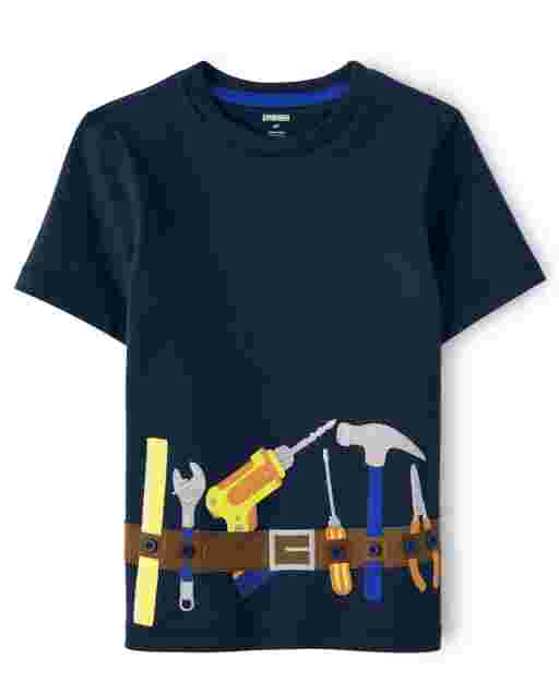 Boys Short Sleeve Embroidered Tool Belt Top - Mr. Fix It