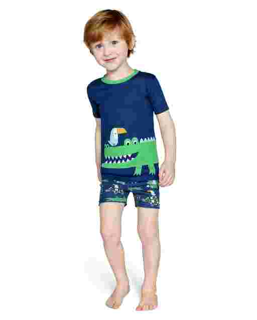 Boys Short Sleeve Alligator Cotton 2-Piece Pajamas - Gymmies