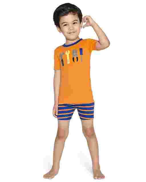 Boys Short Sleeve Tools And Striped Cotton 2-Piece Pajamas - Gymmies