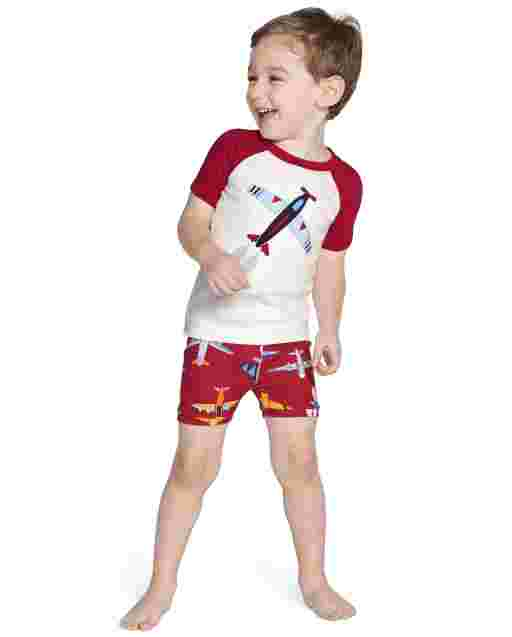 Boys Short Sleeve Airplane Cotton 2-Piece Pajamas - Gymmies
