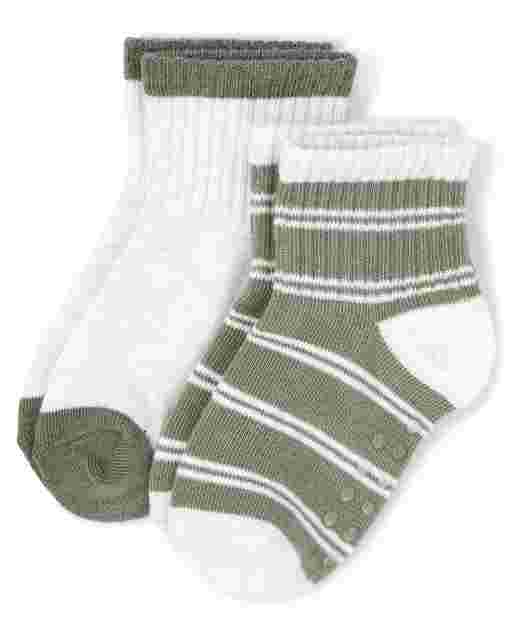 Boys Striped And Solid Midi Socks 2-Pack - Safari Camp