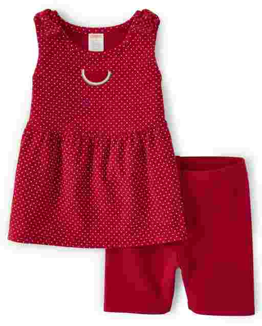 Girls Sleeveless Watermelon And Polka Dot Bow Tank Top And Knit Bike Shorts Set - Sweet Watermelon