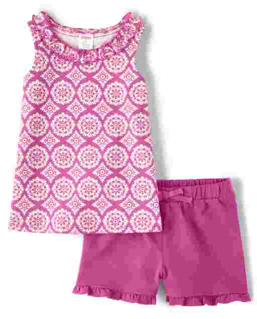 Girls Sleeveless Medallion Print Ruffle Tank Top And Knit Ruffle Shorts Set - Summer Sunsets
