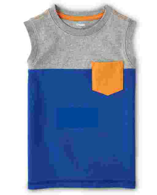 Boys Sleeveless Colorblock Pocket Tank Top - Mr. Fix It