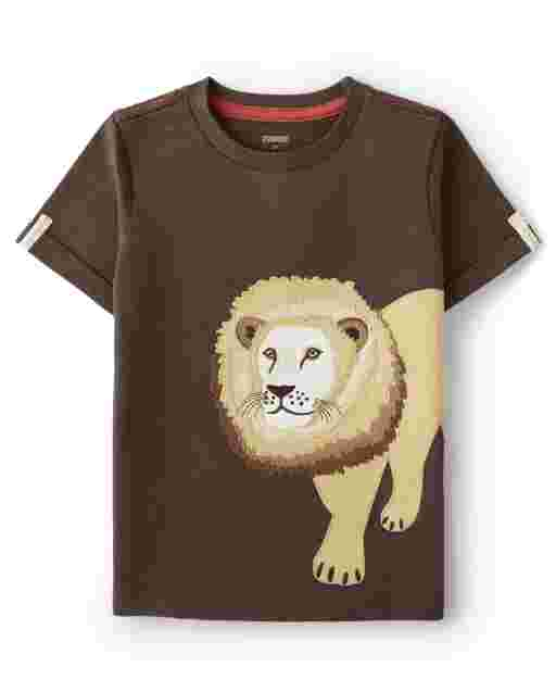 Boys Short Sleeve Embroidered Lion Top - Safari Camp