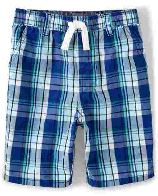 Boys Plaid Poplin Pull On Shorts - Critter Camp