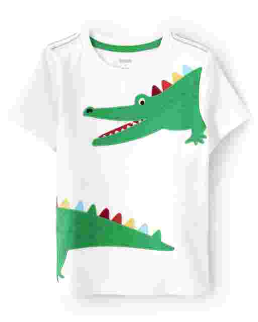 Boys Short Sleeve Embroidered Alligator Patch Top - Critter Camp