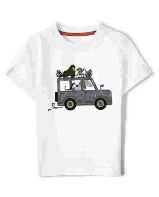 Boys Short Sleeve Embroidered Safari Tour Top - Safari Camp