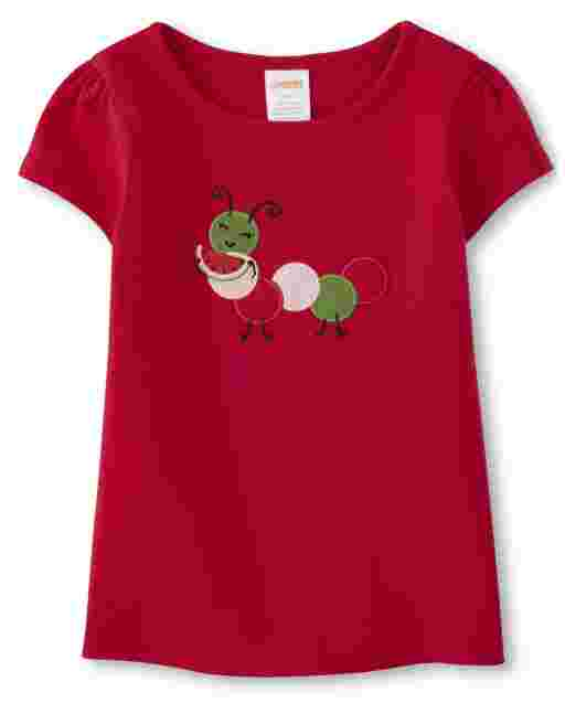 Girls Short Sleeve Embroidered Caterpillar And Watermelon Top - Sweet Watermelon
