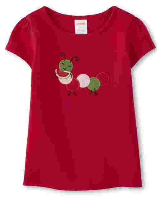 Girls Short Sleeve Embroidered Caterpillar And Watermelon Top - Sweet Watermelon