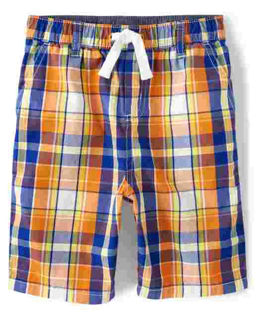 Boys Plaid Poplin Pull On Shorts - Mr. Fix It