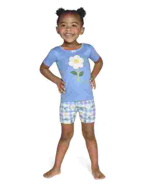 Girls Daisy And Gingham Cotton 2-Piece Pajamas - Gymmies