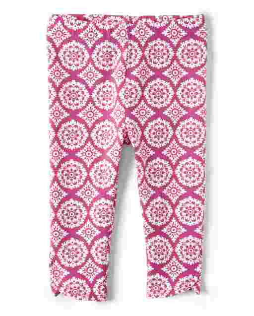 Girls Medallion Print Knit Capri Leggings - Summer Sunsets