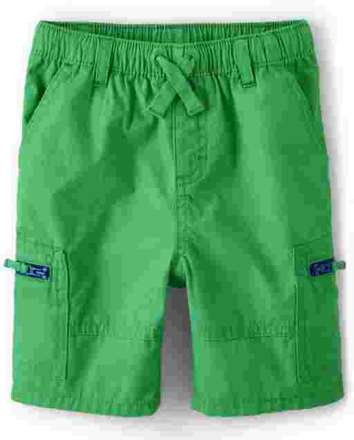 Boys Zip Poplin Pull On Shorts - Critter Camp